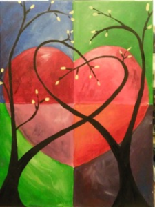 heart painting canvas